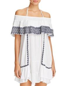 Muche et Muchette - Gavin Embroidered Off-the-Shoulder Ruffle Dress Swim Cover-Up