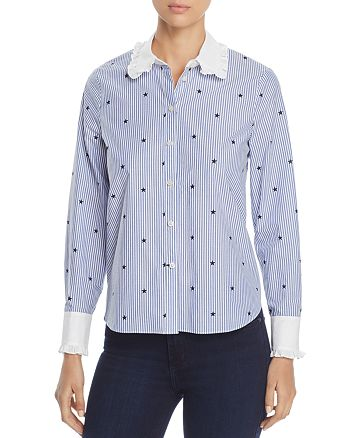 kate spade new york - Twinkle Star Stripe Ruffle Shirt