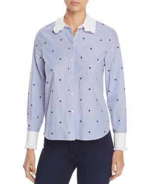 kate spade new york Twinkle Star Stripe Ruffle Shirt