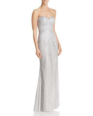 BARIANO STRAPLESS SEQUIN LACE GOWN