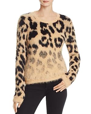 Guess Carina Leopard Print Faux Fur Sweater