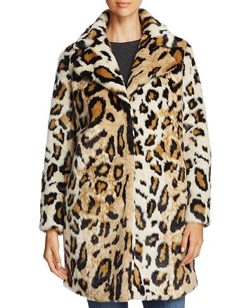 cupcakes and cashmere - Abeni Leopard Print Faux Fur Coat