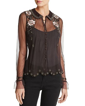 FRENCH CONNECTION - Alyssa Sheer Beaded & Floral Embroidery Top