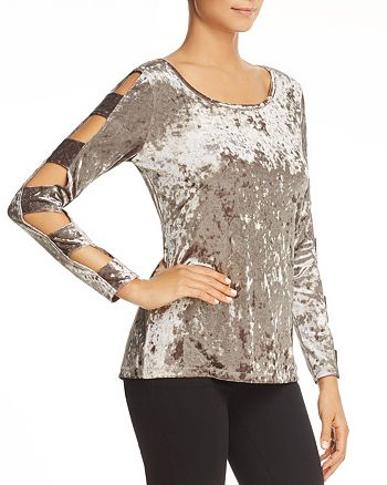 Love Scarlett - Cutout Ladder Sleeve Crushed Velvet Top