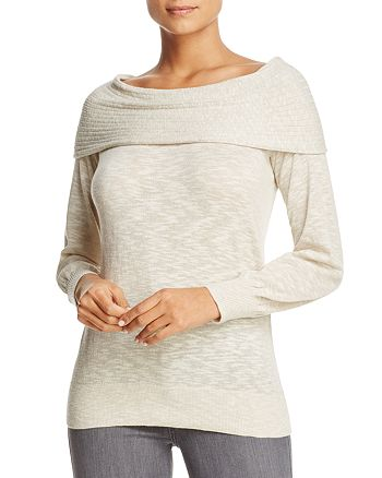 Heather B - Foldover Boat Neck Sweater - 100% Exclusive