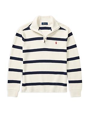 Ralph Lauren Childrenswear Boys' Striped Quarter-Zip Sweater - Big Kid
