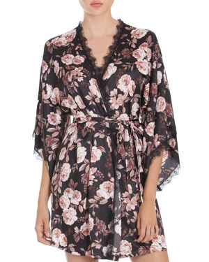 Midnight Bakery Lace-Trimmed Floral Kimono