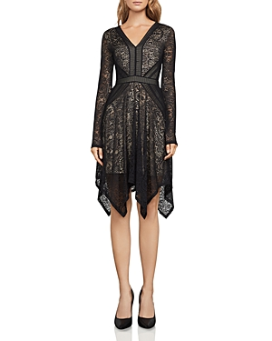 Bcbgmaxazria Alex Lace Handkerchief-Hem Dress
