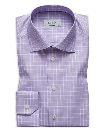 Eton - Textured Grid Regular Fit Dress Shirt
