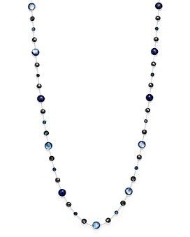 "IPPOLITA - Sterling Silver Lollipop Lapis Doublet, London Blue Topaz & Hematite Necklace in Eclipse, 36"""