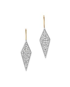Adina Reyter - Sterling Silver & 14K Yellow Gold Long Pavé Diamond Earrings