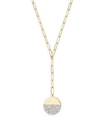 """Adina Reyter - 14K Yellow Gold Solid Pavé Diamond Disc Chain Lariat Necklace, 20"""""""