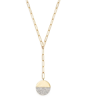 Adina Reyter 14K Yellow Gold Solid Pave Diamond Disc Chain Lariat Necklace, 20