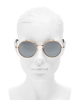 Givenchy - Women's Mirrored Brow Bar Round Sunglasses, 53mm