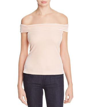 cupcakes and cashmere Haili Velvet Off-the-Shoulder Top