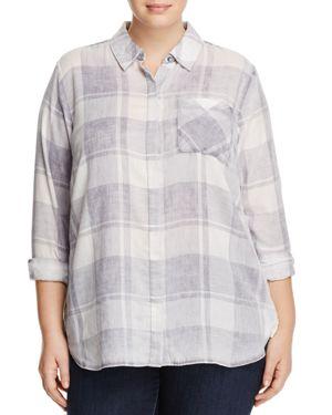 VINCE CAMUTO PLUS Quaint Plaid Button Down Shirt in 050-Grey Heather