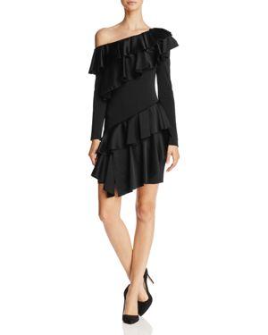 Alice and Olivia Izzy Ruffled Slip-Shoulder Dress