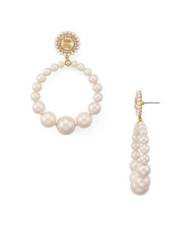$kate spade new york Pearl Hoop Earrings - Bloomingdale's