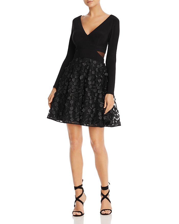 AQUA - Floral Appliqué Fit-and-Flare Dress - 100% Exclusive