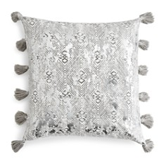"Sky - Ines Distressed Metallic Diamond Decorative Pillow, 18"" x 18"" - 100% Exclusive"