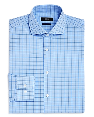 Boss Check Grid Regular Fit Dress Shirt