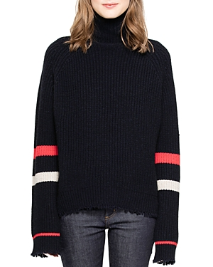 Zadig & Voltaire Zoe Striped-Sleeve Wool & Yak Sweater