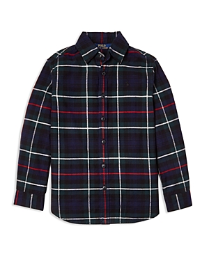 Ralph Lauren Girls' Flannel Boyfriend Shirt - Big Kid