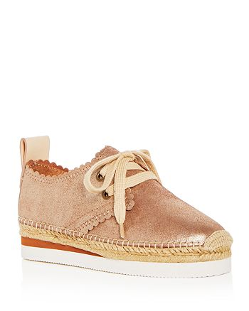 132eb8036c4e See by Chlo eacute  - Women s Scalloped Leather Lace Up Platform Espadrille  Flats