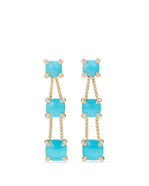 David Yurman - Châtelaine Linear Chain Earrings with Turquoise & Diamonds in 18K Gold