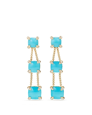 David Yurman Chatelaine Linear Chain Earrings with Turquoise & Diamonds in 18K Gold