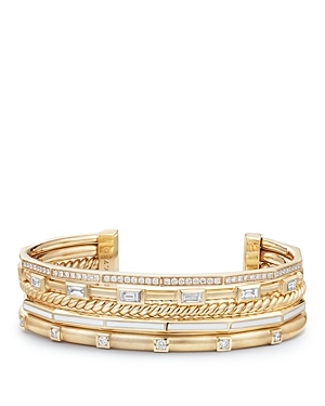 David Yurman Stax Color Cuff with Diamonds in White with 18K Gold