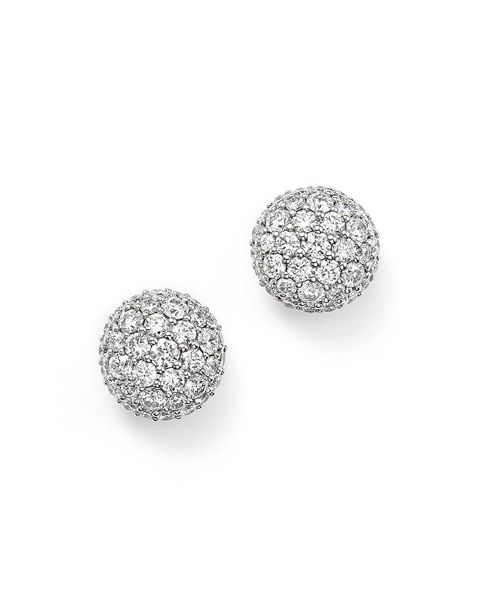 Diamond Ball Stud Earrings In 14k White Gold 1 10 Ct T W 100 Exclusive