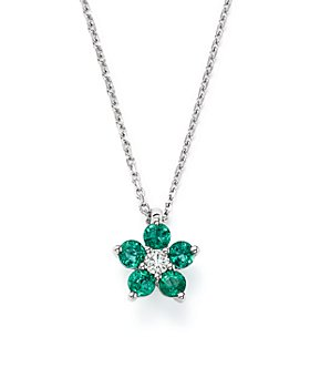 Bloomingdale's - Diamond & Emerald Flower Pendant Necklace in 14K White Gold - 100% Exclusive