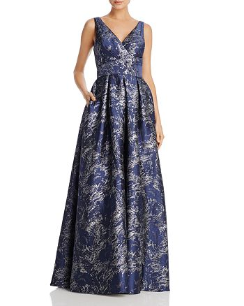 Carmen Marc Valvo - Metallic Jacquard Gown