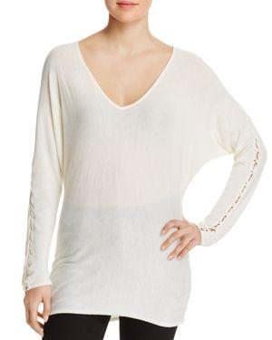 Splendid Lace-Up Sleeve Sweater