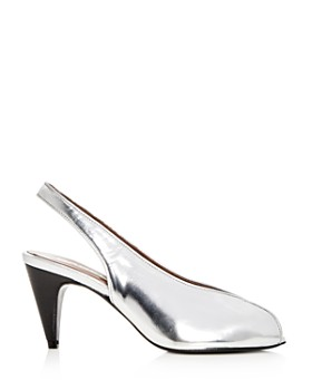 Carel - Women's Saturne Metallic Slingback Peep Toe Pumps