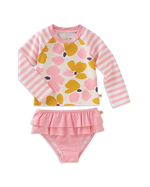 kate spade new york Girls' Floral Rash Guard & Ruffled Swimsuit Bottoms Set - Baby