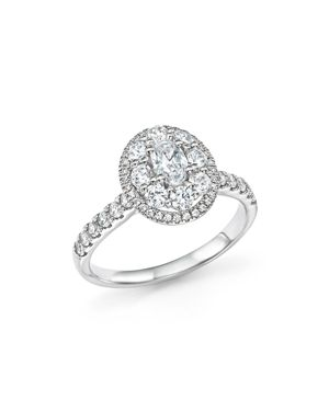 Bloomingdale's Diamond Oval Center Engagement Ring in 14K White Gold, 1.25 ct. t.w. - 100% Exclusive