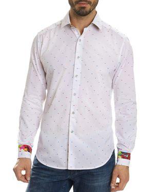 Robert Graham Rainbow Stitch Dot Skull Long Sleeve Button-Down Shirt