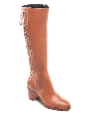 WOMEN'S TUMBLED LEATHER TALL LACE UP BOOTS