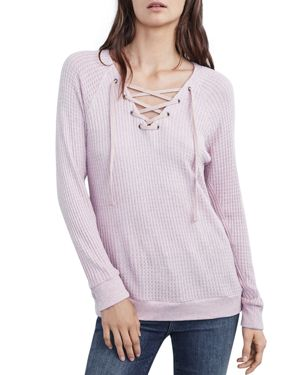 Velvet by Graham & Spencer Texas Lace-Up Waffle-Knit Tee