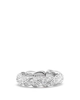 David Yurman - Paveflex Band Ring with Diamonds in 18K White Gold