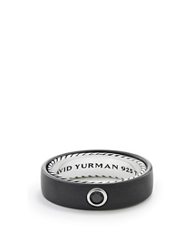 David Yurman - Men's Streamline Band Ring with Black Diamond