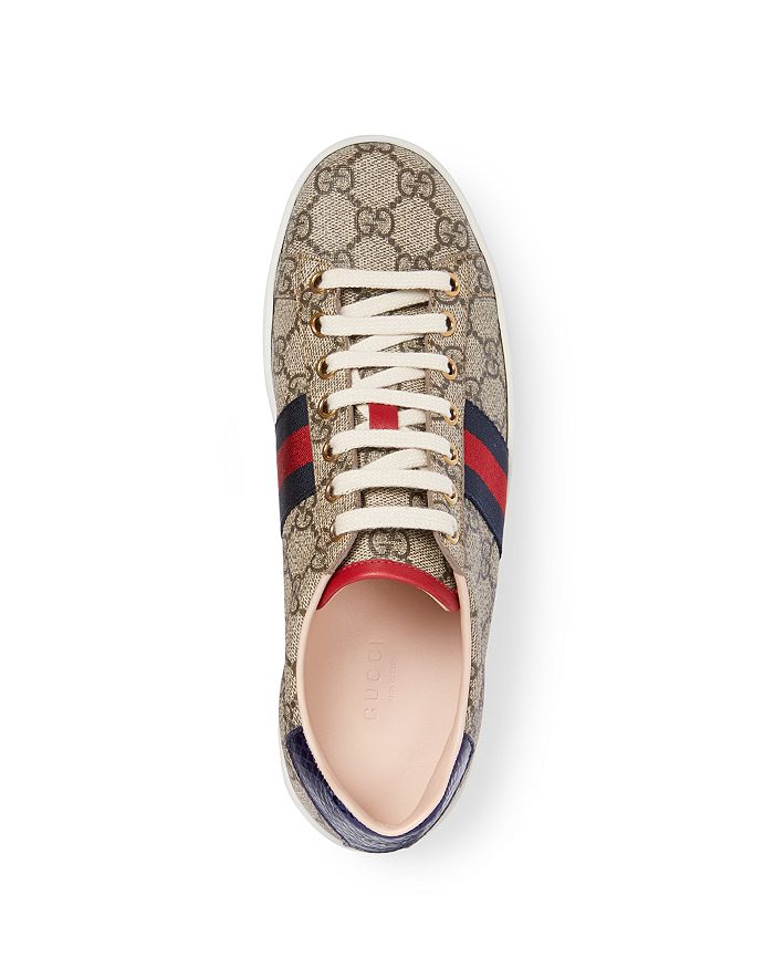 a2289fe5103 Gucci Women s New Ace GG Supreme Canvas Low Top Lace Up Sneakers ...