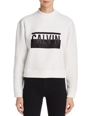 Calvin Klein Jeans Mock Neck Cropped Logo Sweatshirt 2788676