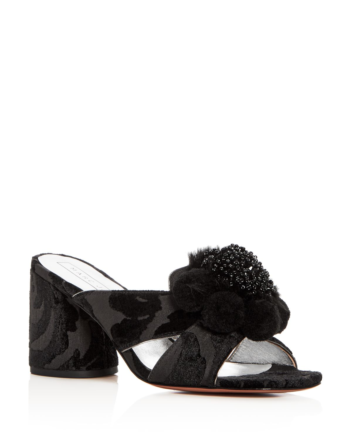 Marc Jacobs Women's Aurora Embellished Faux-Fur & Pom-Pom Block Heel Slide Sandals