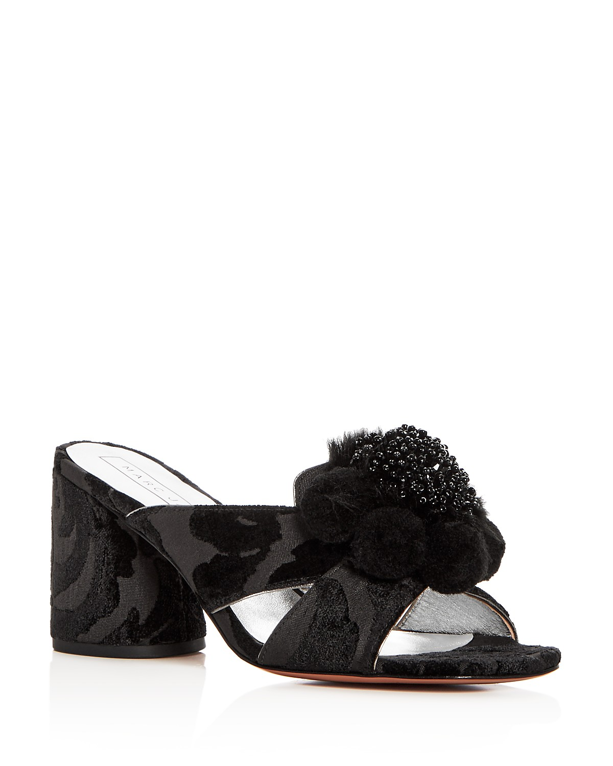 Marc Jacobs Women's Aurora Embellished Faux-Fur & Pom-Pom Block Heel Slide Sandals Pay With Paypal Sale Online Perfect Cheap Price 4a2PZyY