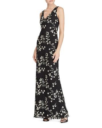$Lauren Ralph Lauren Floral Embroidered Mesh Gown - Bloomingdale's