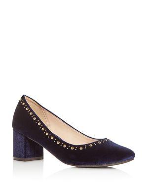 Cole Haan Women's Justine Embellished Velvet Block Heel Pumps 2793815