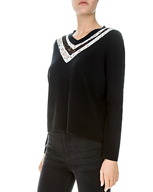 THE KOOPLES LACE-INSET WOOL-BLEND SWEATER 6c87e5cb0